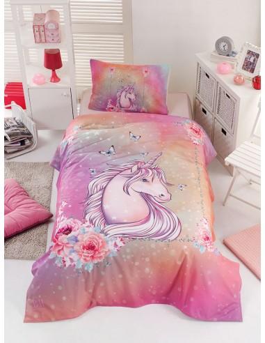 Σετ παπλωματοθήκη μονή Unicorn Art 6114  160x240  Ροζ