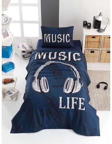 Σετ σεντόνια μονά Sound Art 6116  160x240  Μπλε