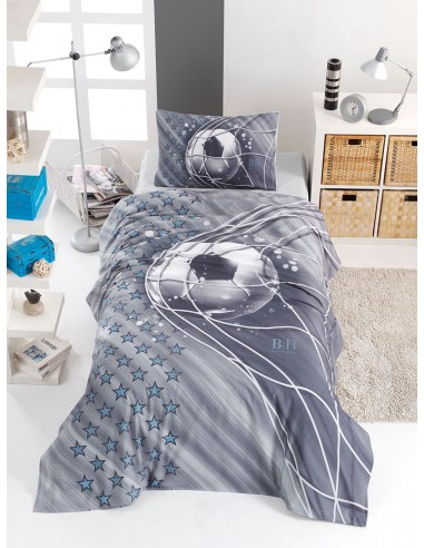 Σετ παπλωματοθήκη μονή Soccer Art 6117  160x240  Γκρι
