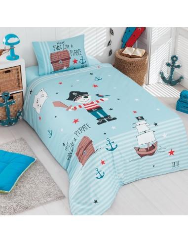 Σετ παπλωματοθήκη μονή Pirate Art 6168  160x240 Γαλάζιο